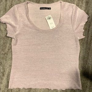 NWT Lavender and silver velvety crop top